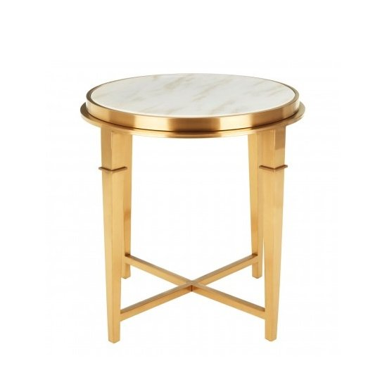 Melville Marble Top Side Table In White With Gold Finish Legs