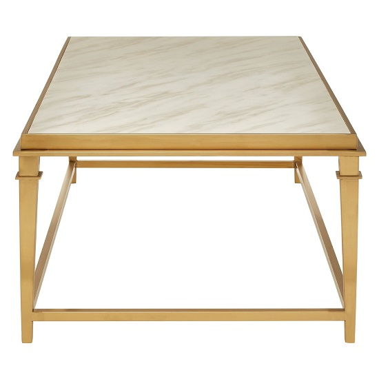White Marble Coffee Table Gold Legs: Melville Marble Coffee Table Rectangular In White And Gold
