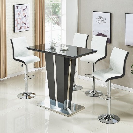 Memphis Glass Bar Table High Gloss Black 4 Ritz White Stools
