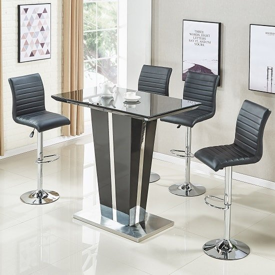Memphis Glass Bar Table In High Gloss Black And 4 Ripple Stools