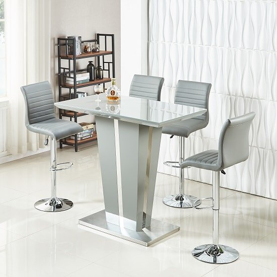 Memphis Glass Bar Table In High Gloss Grey And 4 Ripple Stools