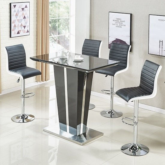 Memphis Glass Bar Table In High Gloss Black And 4 Ritz