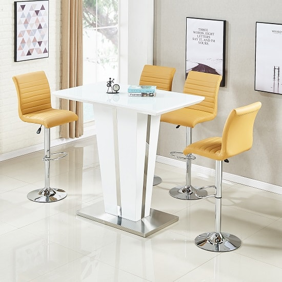Memphis Glass Bar Table Gloss White 4 Ripple Curry Stools