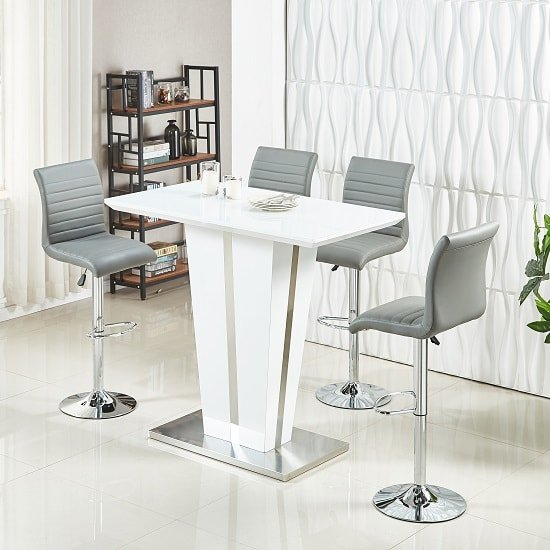 Memphis Glass Bar Table High Gloss White 4 Ripple Grey Stools