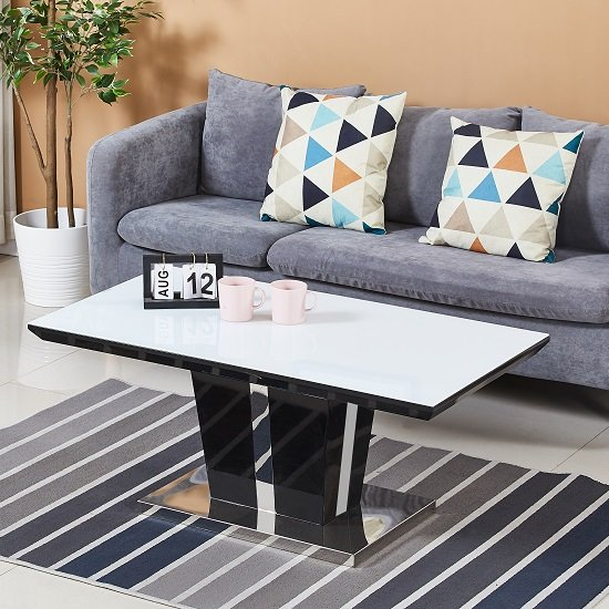 Memphis Glass Coffee Table In White With Black High Gloss
