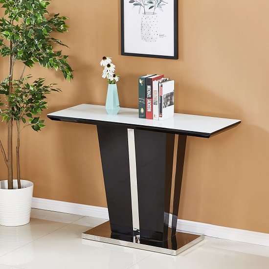 Memphis Glass Console Table In White With Black High Gloss