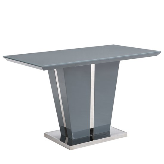 Memphis Console Table In Grey High Gloss With Glass Top_2
