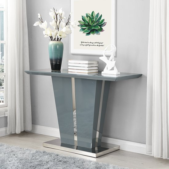 View Memphis console table in grey high gloss with glass top