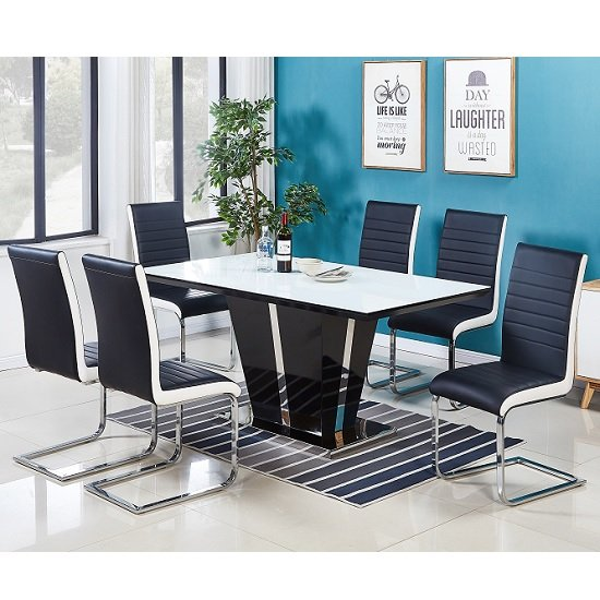 Memphis White Glass Dining Table With 6 Symphony Chairs