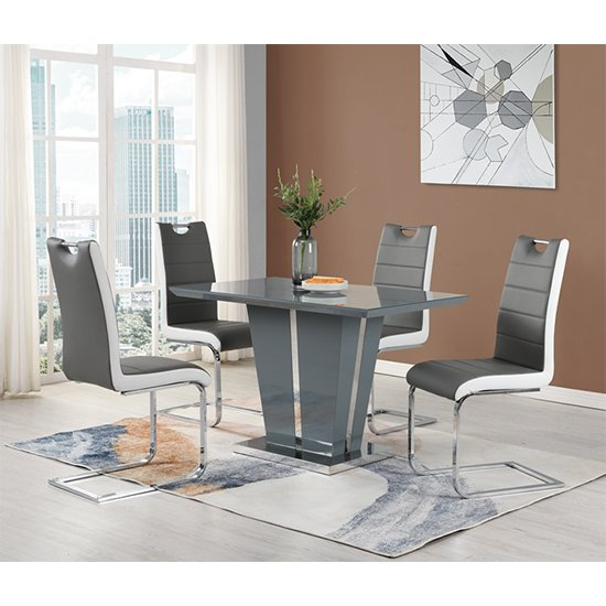 Memphis Dining Table Small In Grey High Gloss With Glass Top_2