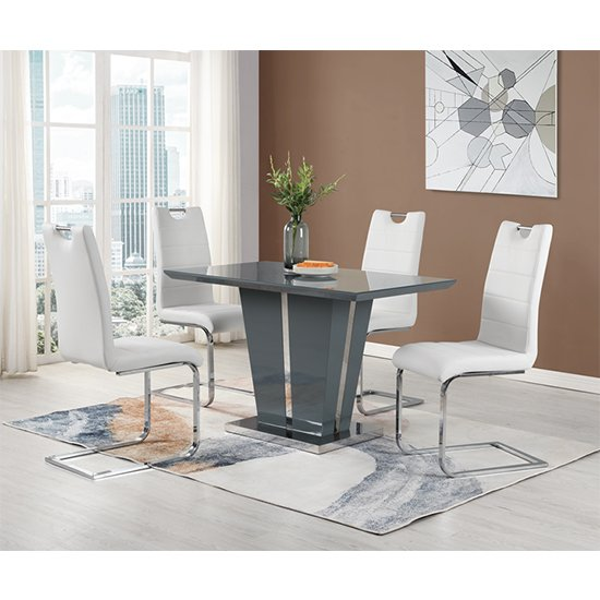 Memphis Dining Table Small In Grey High Gloss With Glass Top_3