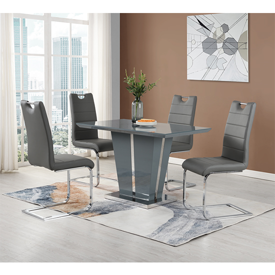 Memphis Dining Table Small In Grey High Gloss With Glass Top_4