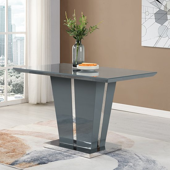 Memphis Dining Table Small In Grey High Gloss With Glass Top
