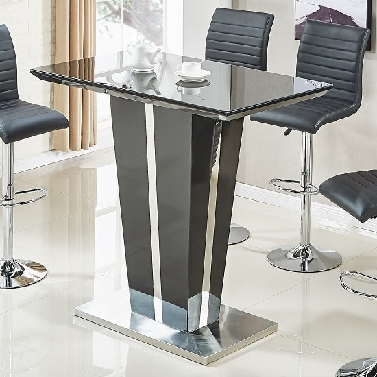 Memphis Glass Bar Table In High Gloss Black And Chrome Base