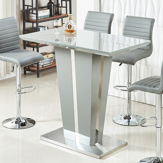 Memphis Glass Bar Table In High Gloss Grey And Chrome Base