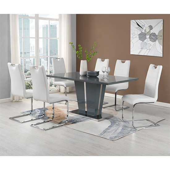 Memphis Grey Glass Large Dining Table With 6 Petra White Chairs