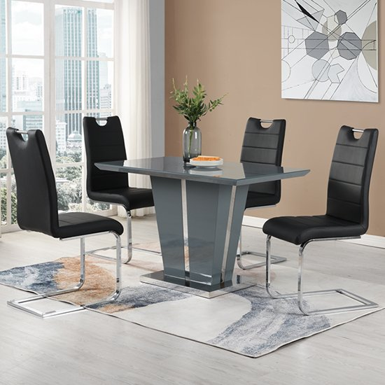 Memphis Grey Glass Small Dining Table With 4 Petra Black Chairs