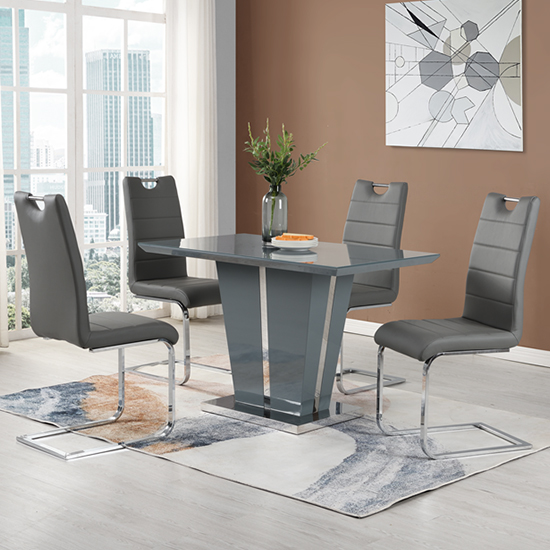 Memphis Grey Glass Small Dining Table With 4 Petra Grey Chairs