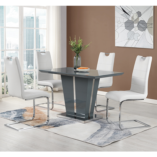 Memphis Grey Glass Small Dining Table With 4 Petra White Chairs