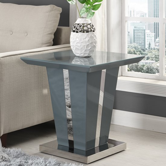 Memphis Lamp Table Square In Grey High Gloss With Glass Top