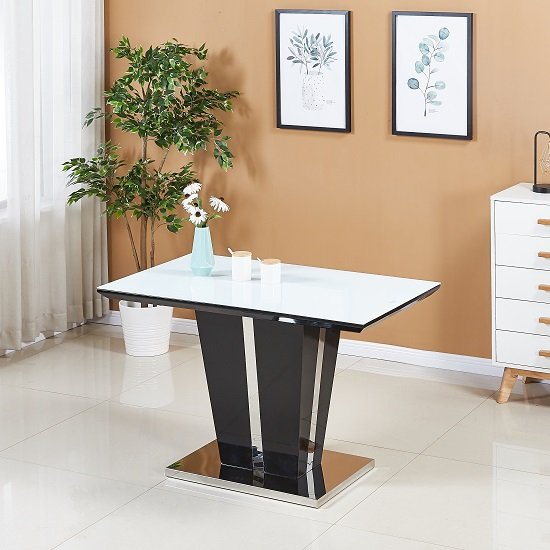 Memphis White Glass Dining Table Small In Black High Gloss