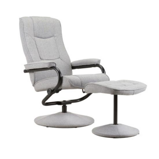 Memphis Swivel Recliner Chair And Footstool In Grey_4