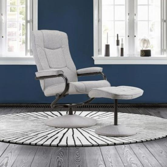 Memphis Swivel Recliner Chair And Footstool In Grey_1