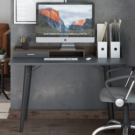 Memphis Wooden Computer Desk In Walnut And Charcoal Grey