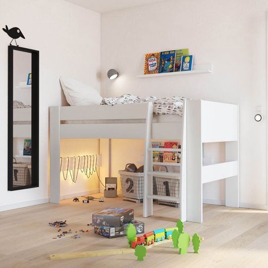Memphis Wooden Mid Sleeper Childern Bed In White_1