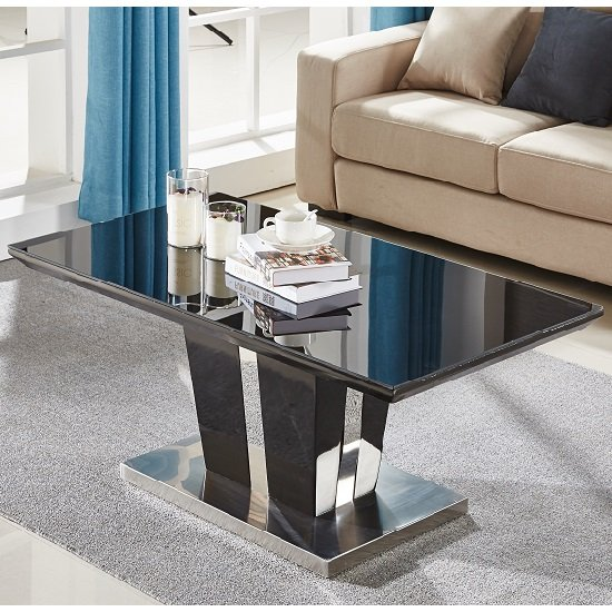 View Memphis coffee table in black high gloss with glass top