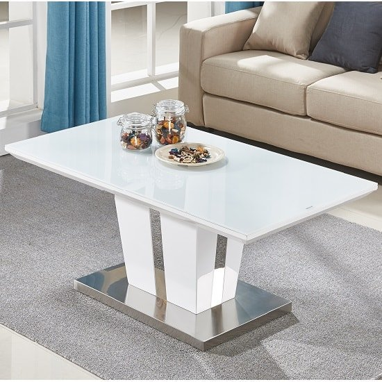 Memphis Coffee Table In White High Gloss With Glass Top_1