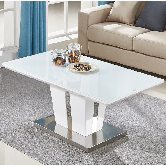 White High Gloss Side End Square 2 Seats Of Coffee Table: Memphis Coffee Table In White High Gloss With Glass Top
