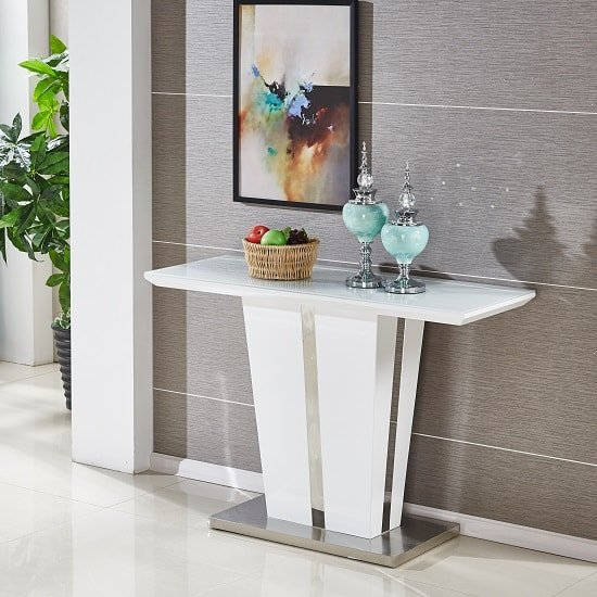 View Memphis console table in white high gloss with glass top