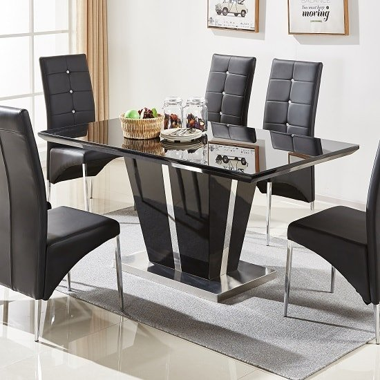 Memphis Glass Dining Table In Black Gloss And Chrome Base_1