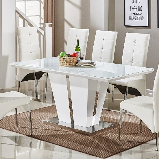 Memphis Glass Dining Table In White Gloss And Chrome Base_1