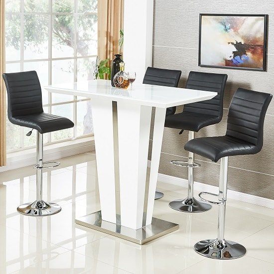 Memphis Glass Bar Table In High Gloss White And 4 Ripple