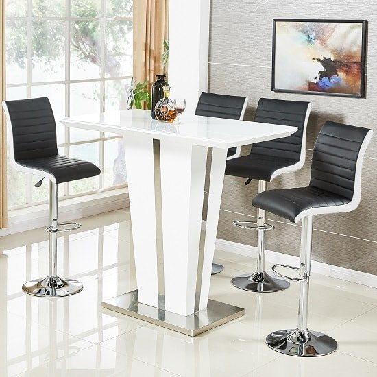 Memphis Glass Bar Table High Gloss White 4 Ritz Black Stools