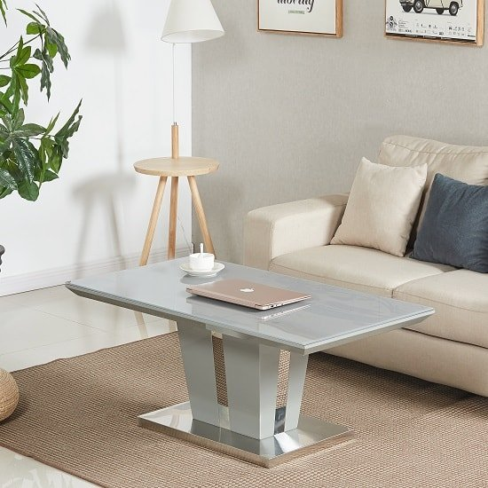 Memphis Coffee Table In Grey High Gloss With Glass Top