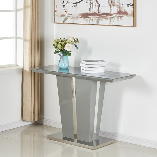 Memphis Console Table In Grey High Gloss With Glass Top_1