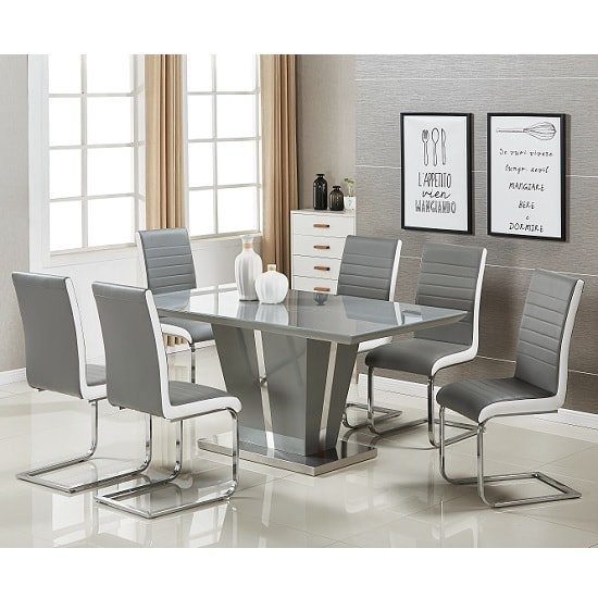 Memphis Modern Dining Table In Grey High Gloss With Glass Top_2