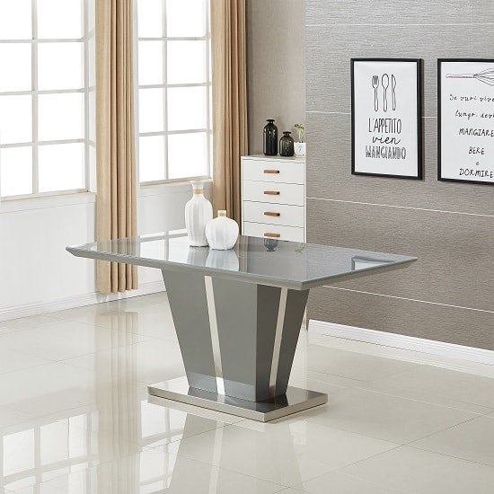 Memphis Modern Dining Table In Grey High Gloss With Glass Top