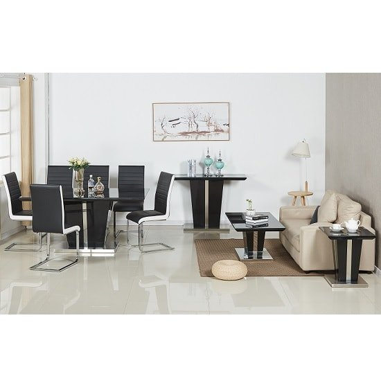 Memphis Glass Dining Table In Black Gloss With 6 Dining Chairs_2