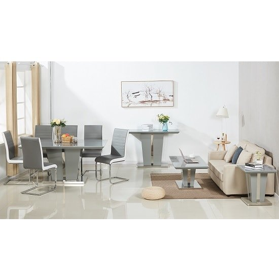 Contemporary Furniture Memphis: Memphis Modern Dining Table In Grey High Gloss With Glass