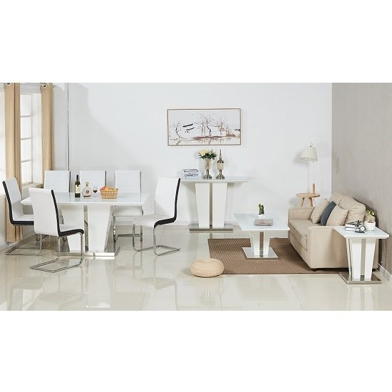 Memphis Glass Dining Table In White Gloss With 6 Dining Chairs_2