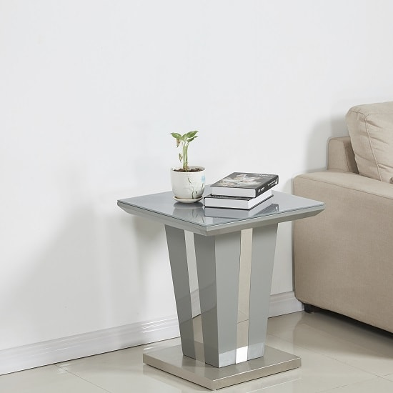 End Table Lamps For Living Room Home Combo Lamp Tables: Memphis Lamp Table Square In Grey High Gloss With Glass Top