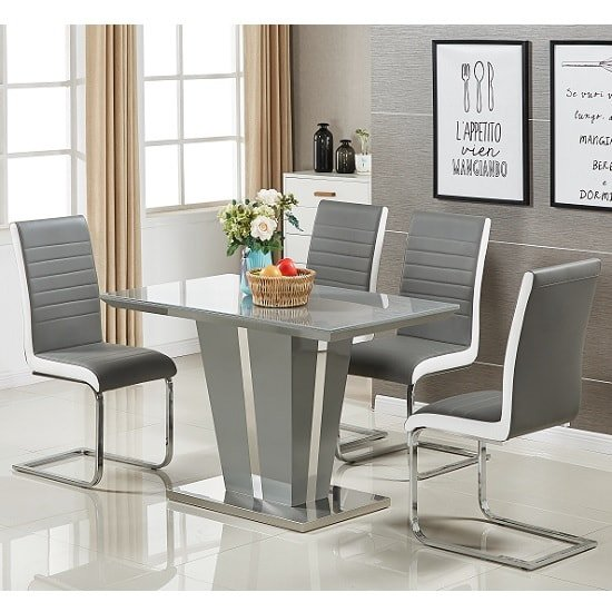 Memphis Glass Dining Table Small In Grey And 4 Symphony Chairs