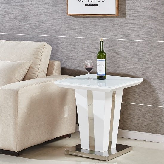 Memphis Lamp Table Square In White High Gloss With Glass Top_1