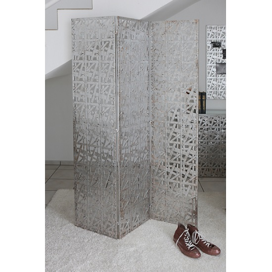 Read more about Memphis trendy metal room divider in antique silver