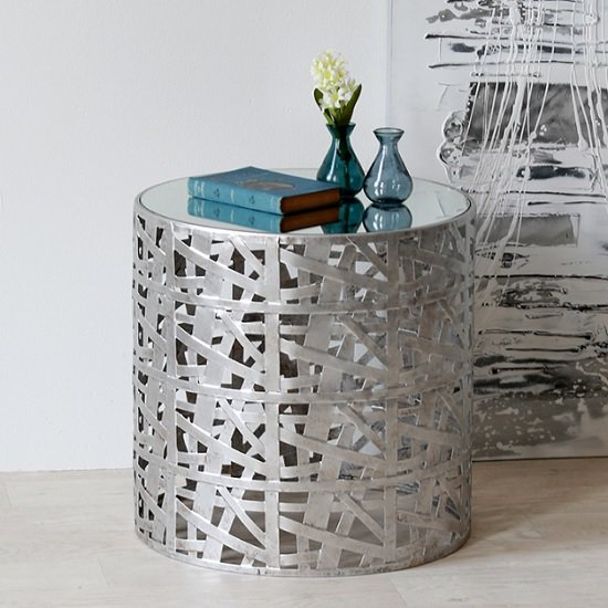 Memphis Metal Side Table Round In Silver With Mirror Top