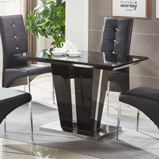 Memphis Glass Dining Table Small In Black Gloss And Chrome